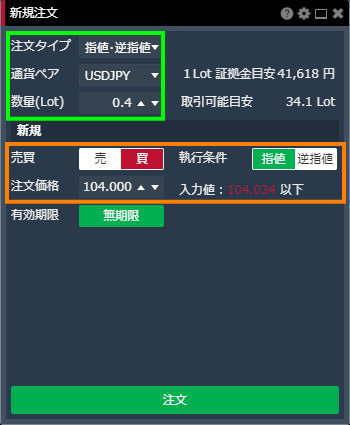 ドル円の両建を指値注文