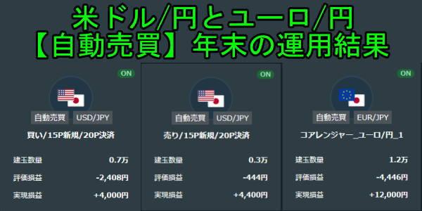 FXの自動売買(ループイフダン)で米ドル円とユーロ円を年末に運用した結果