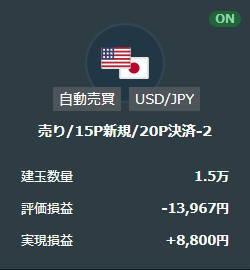 トライオートFX米ドル円売りループイフダン取引結果