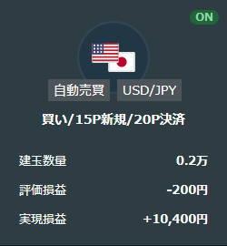 トライオートFX米ドル円買いループイフダン取引結果
