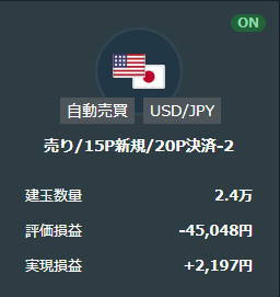 21年2月米ドル円の売りループイフダン取引結果
